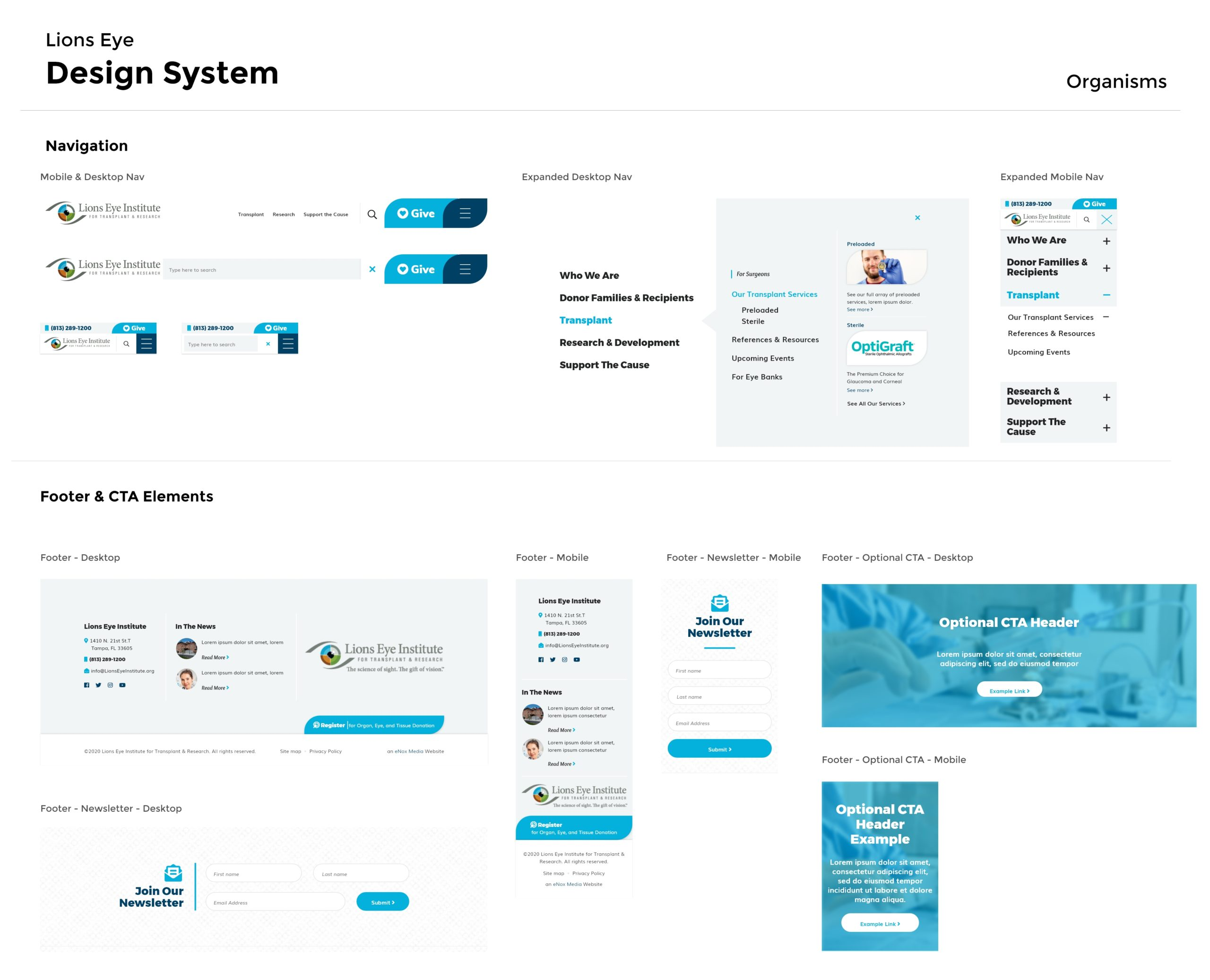 Lions Eye Design System - Organisms