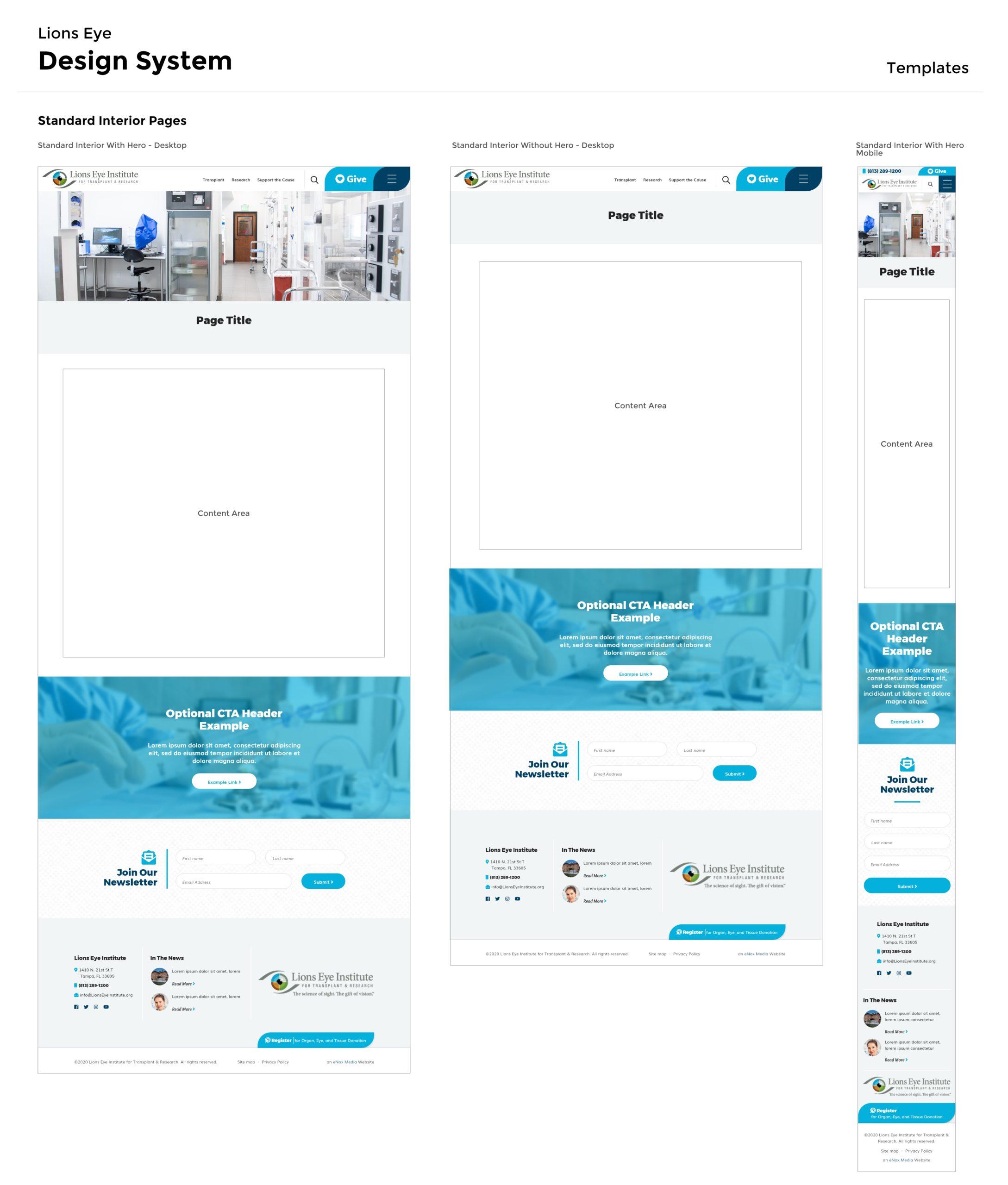 Lions Eye Design System - Templates