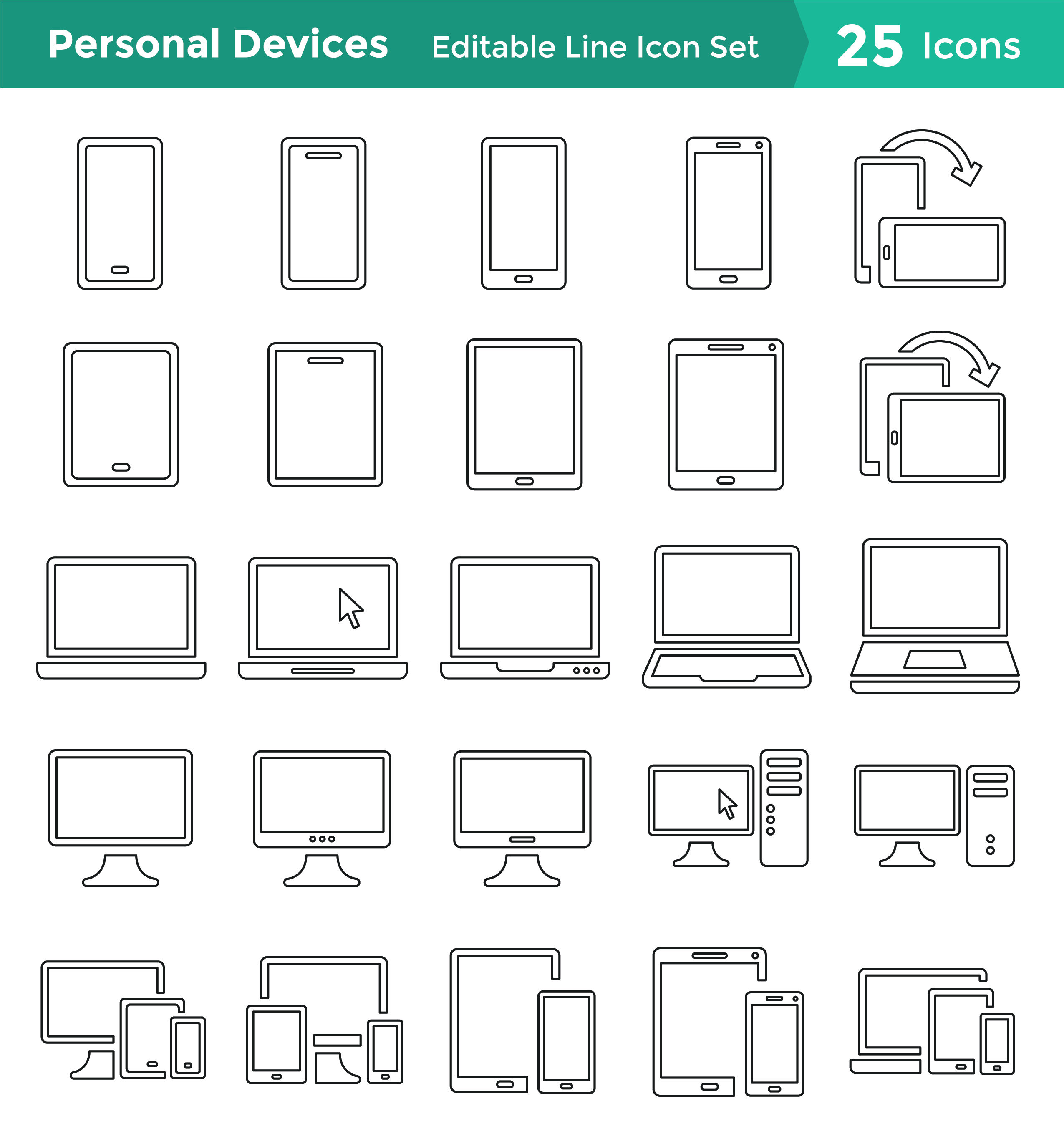 Personal Devices Icon Set: Editable Line