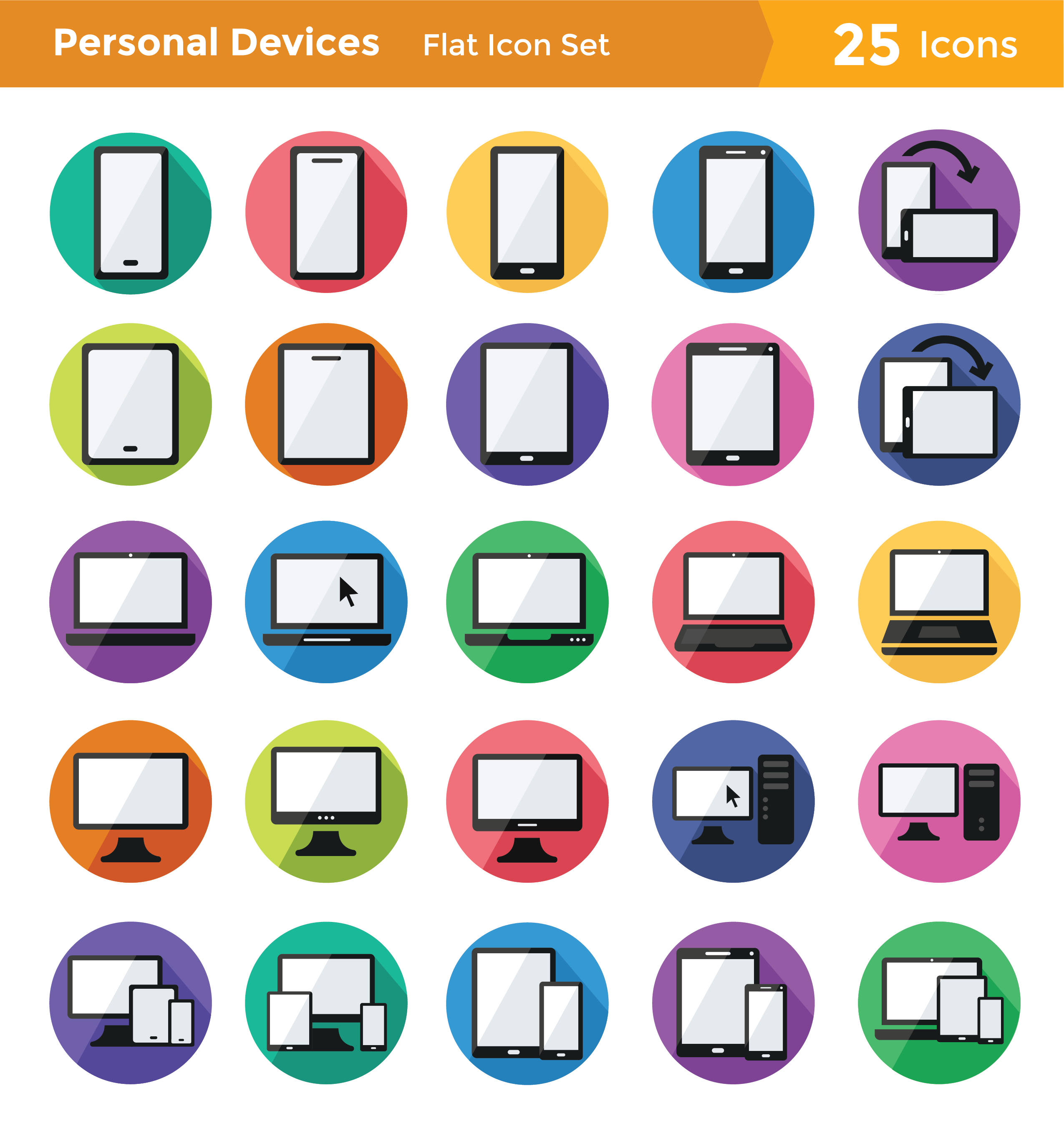 Personal Devices Icon Set: Flat