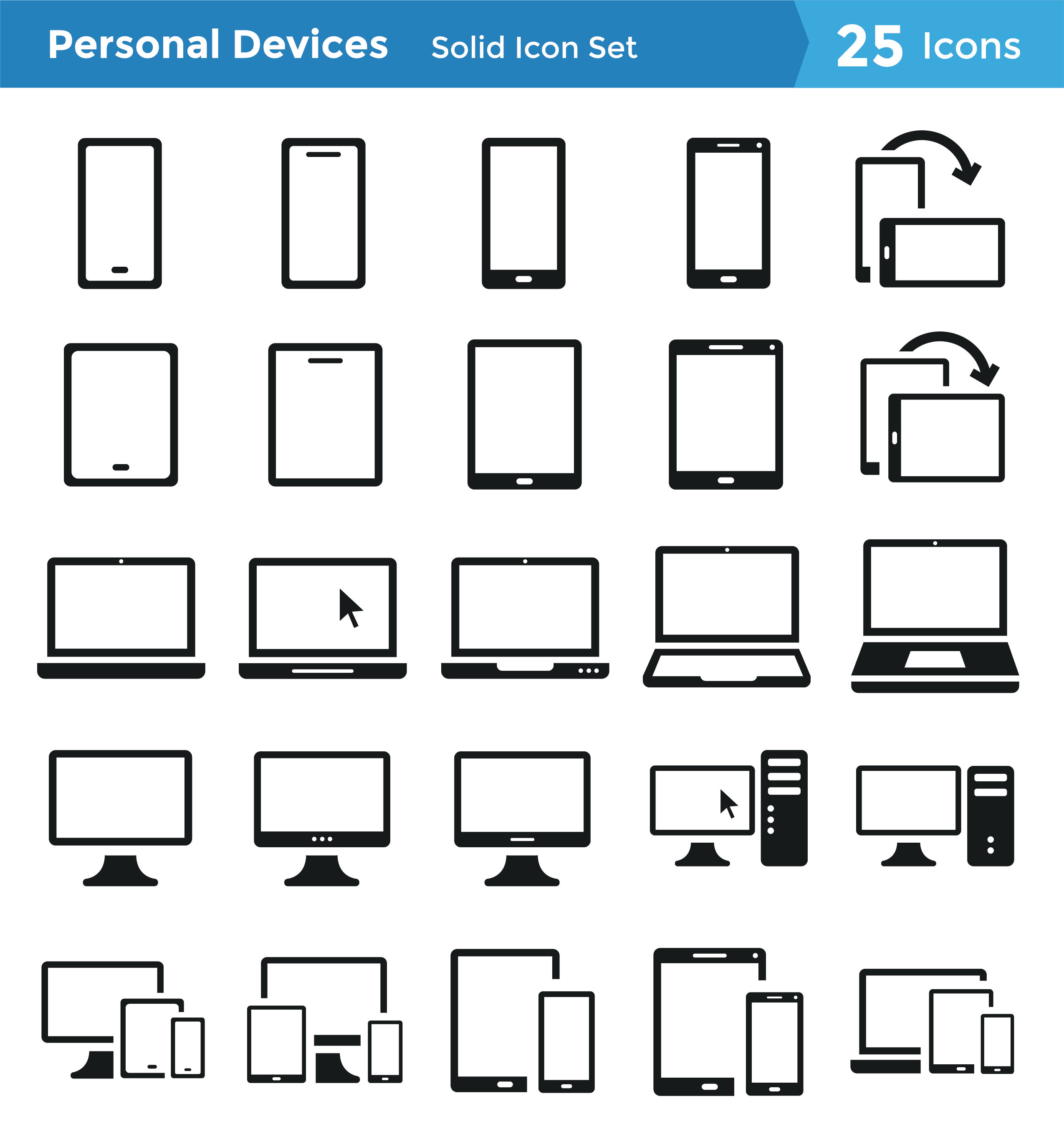 Personal Devices Icon Set: Solid